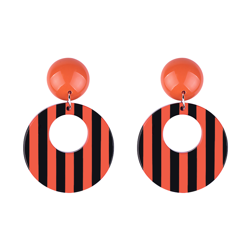 137821acc159 GuanLong Wholesale Fashion Big Stripe Resin Round Circle Earrings Jewelry  For Dropshipping 5 Colors