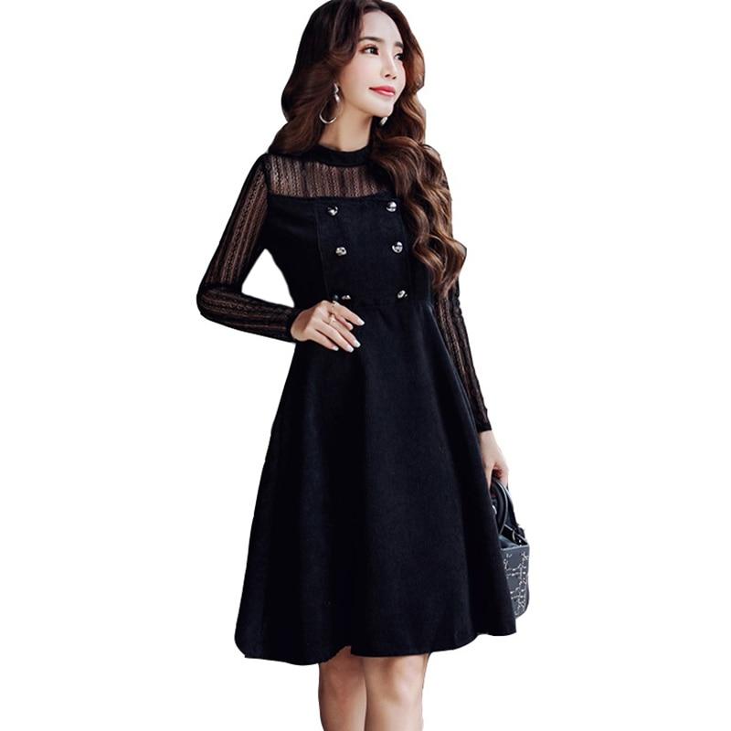 Élégant noir Patchwork dentelle robe automne hiver femmes faux 2 pièces à manches longues o-cou robes de soirée en velours côtelé RE0282