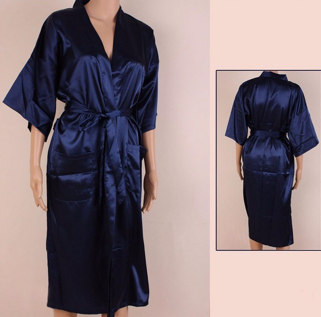 Chinese Women's Traditional Silk Satin Robe Gown Sexy Lingerie with Belt Summer Lounge Nightgown Sleepwear Plus Size S-XXXL