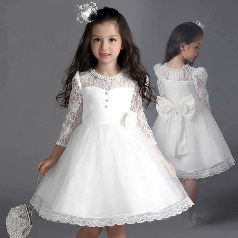 girls clothes formal party dress white full sleeve ...