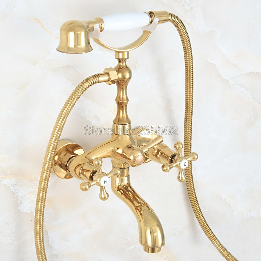 Luxury Gold Color Brass Bath Shower Faucet Set Dual Handle Wall Mounted Clawfoot Bath Tub Faucet Shower Mixer Tap lna801Luxury Gold Color Brass Bath Shower Faucet Set Dual Handle Wall Mounted Clawfoot Bath Tub Faucet Shower Mixer Tap lna801