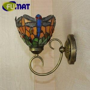 """Image 3 - FUMAT ティファニー壁ランプ LED 燭台ステンドグラス Luminaria 廊下ライトトンボミラーフロントランプ E14 6 """"通路壁ライト"""