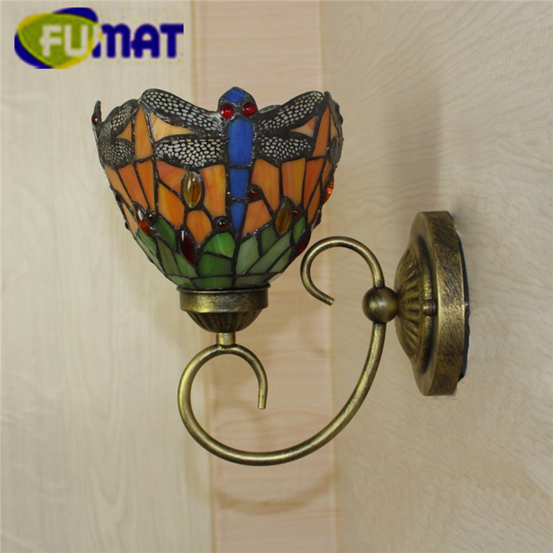 """Image 3 - FUMAT Tiffany Wall Lamp LED Sconces Stained Glass Luminaria Corridor Light Dragonfly Mirror Front Lamp E14 6"""" Passage Wall Light-in LED Indoor Wall Lamps from Lights & Lighting"""