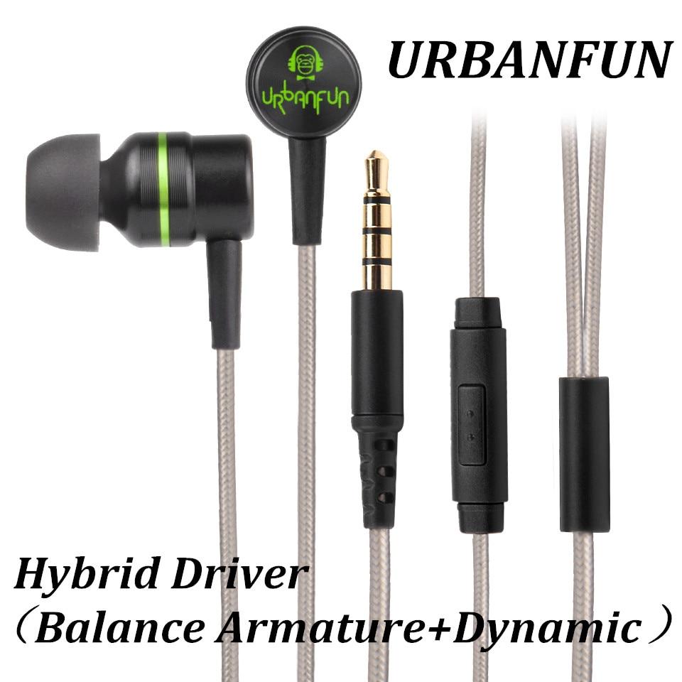URBANFUN Balanced armature 3.5mm In Ear Earphone Hybrid Driver 1dd+1ba HiFi Metal Earphone Earplug Headset with Mic earphones