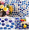 LSERS234 Penny Rounds Glass Tile Kitchen Backsplash Mosaic Sheet Bathroom Wall Stickers Mirror Tiles Round Glass