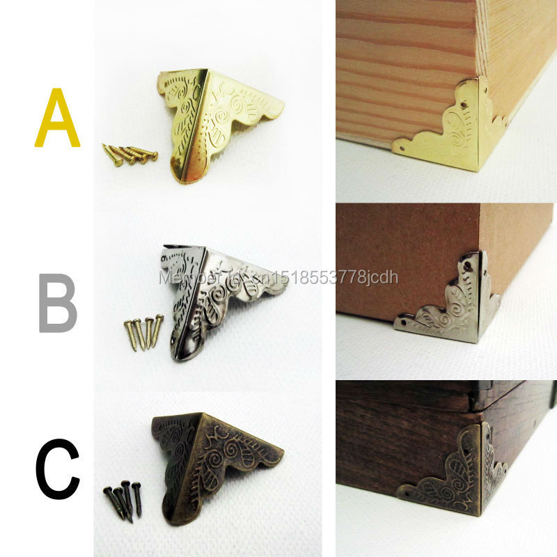 12pc Decorative Antique Brass Golden Silvery Jewelry Chest Wine Box Wooden Case Furniture Iron
