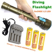 21000 LM Underwater diving flashlight CREE L2 Waterproof 9L2 Dive Torch for diving + 3*18650 Rechargeable batteries +Charger DX9