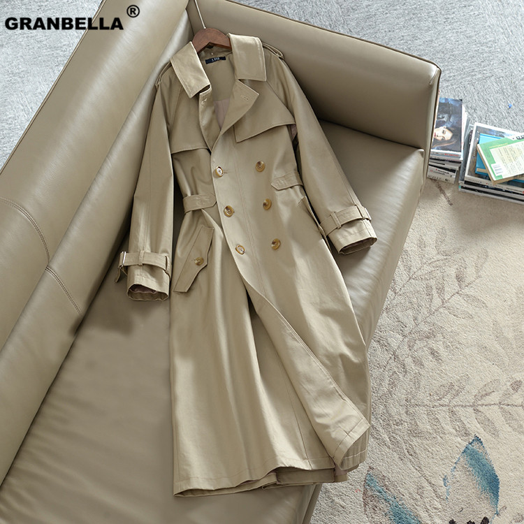 Autumn New Women's Casual   trench   Coat Oversize Double Breasted Vintage Washed Outwear Loose Clothing Office Lady Long Cloak