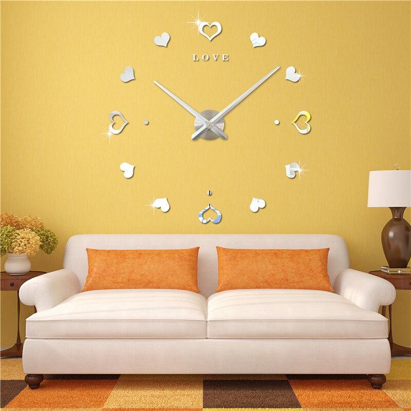 3D Love antique style minimaliste salon horloge murale mode art surdimensionné montre de poche grande horloge murale horloge à faire soi-même créative - 2