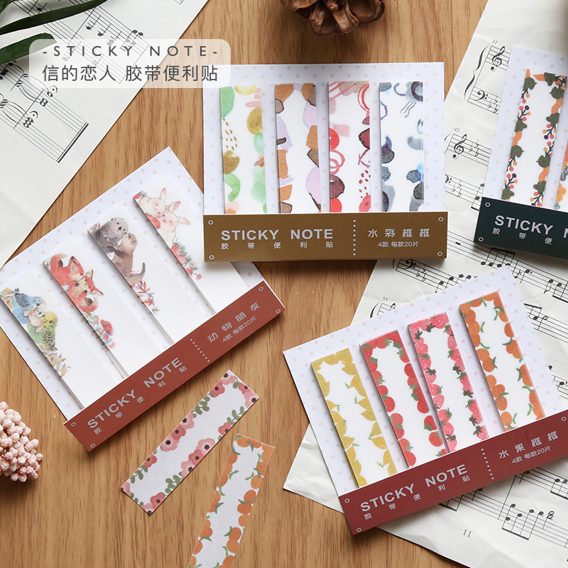 Morandi Impression Series N Times Sticky Notes Cute Fruit Flower Animal Memo Pad School Supplies Decoration Japanese Stationery