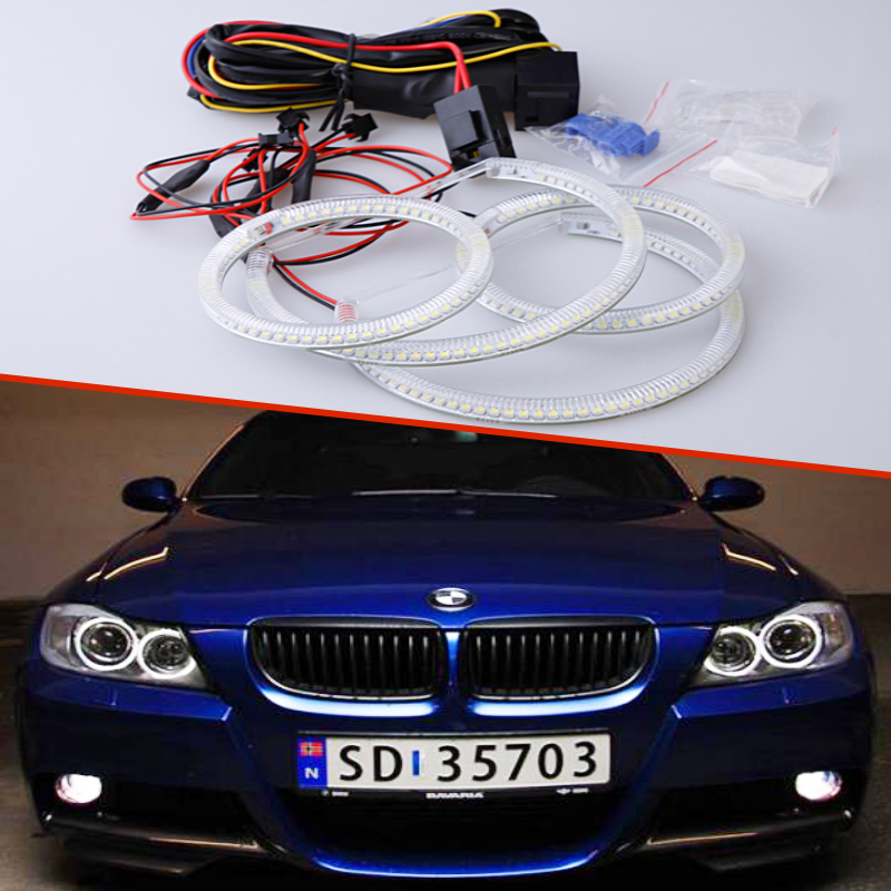 Super bright 7000K white 3528 smd led angel eyes halo rings car styling For BMW 3 Series E90 Non projector 2005 - 2008 7000k xenon white smd led angel eyes halo ring lighting kit for bmw e46 3 series non projector free shipping