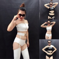 2018 New Leather Suit Nightclub Costume Sexy Leather Tube Top Low Waist Bag Hip Leather Pants Multi piece Stage Set DJ