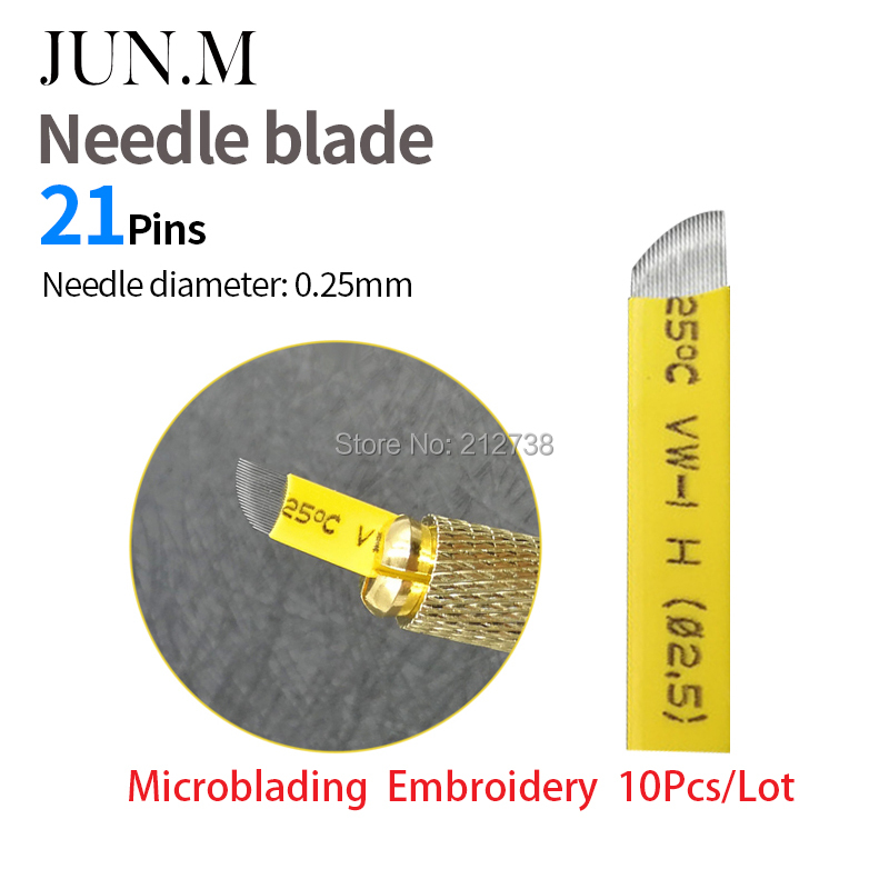 0.25mm  10PCSlot  Sterile yellow Curve Microblade Needles 21CF Permanent Makeup Pen Needles 21pin for manual eyebrow