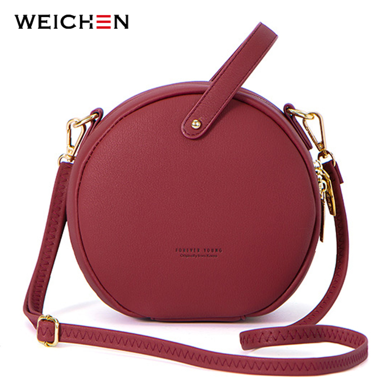 2018 bolso de hombro de mujer de moda de diseño Circular de cuero para mujer, bolso bandolera para mujer, bolso redondo para mujer