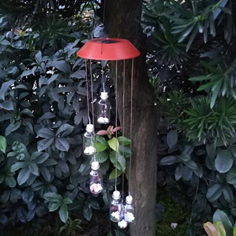 Outdoor LED Solar Lamp For Garden Bottle Wind Home Garden Decor Solar Light Solar Powered Color-Changing Wind Chime Light
