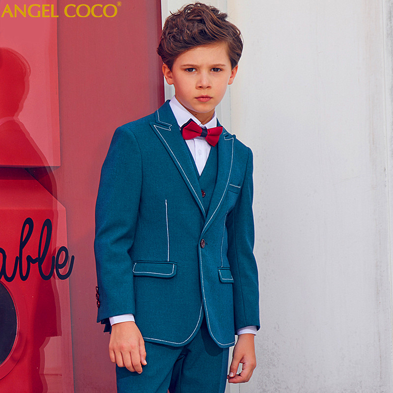 Green High Quality 2018 New Arrival Fashion Baby Boys Kids Blazers Boy Suit For Weddings Prom Formal Dress Wedding Boy Suits kimocat boy and girl high quality spring autumn children s cowboy suit version of the big boy cherry embroidery jeans two suits