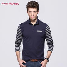 FIVE PANDA 2017 New Brand Long Sleeve Cotton Contrast Color Polos Men Fashion Casual Shirts Tops Long Sleeve Men Polos CMPL004