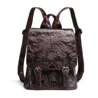 Baoersen Brand Designer Shoulder Bags For Girls Fashion Women Backpack Vintage Genuine Leather Backpack Female High Quality