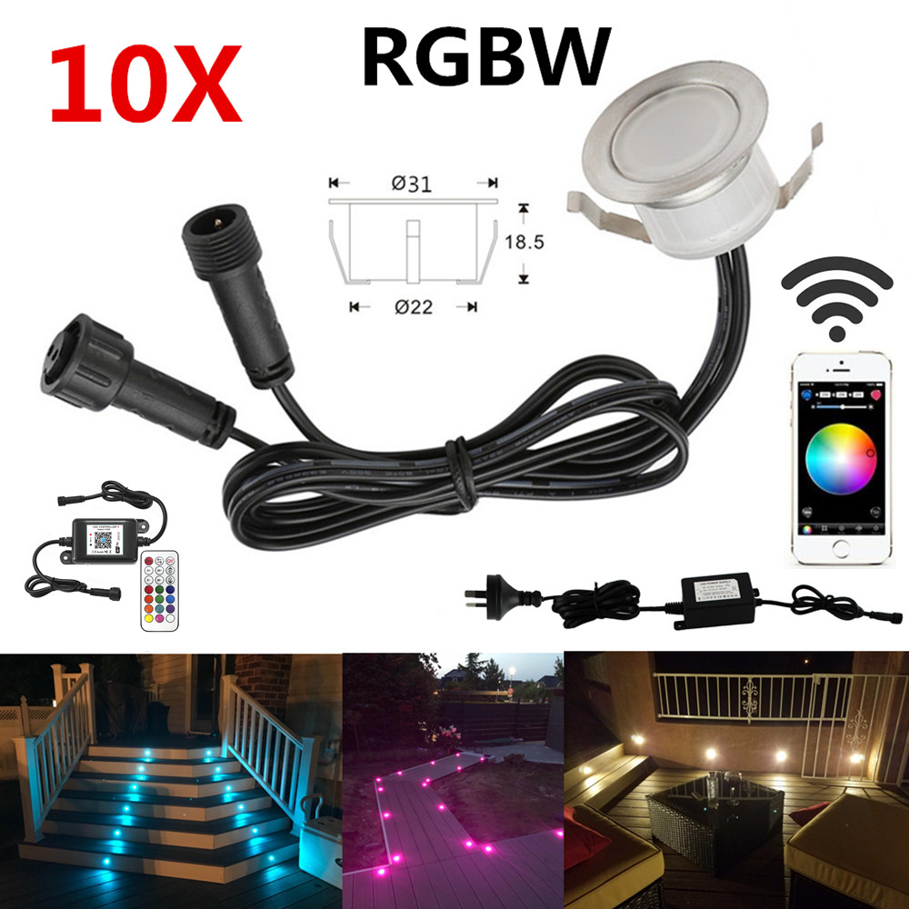 Romantic 10pcs/lot Rgbw Smart Wifi Phone App Controller 31mm 12v Ip67 Terrace Stair Step Led Deck Rail Lights For Alexa Google Home Ifttt Led Underground Lamps