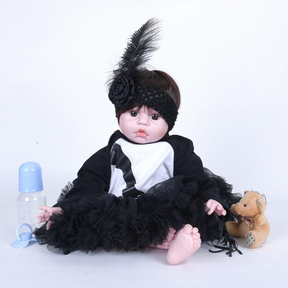55cm Cute Reborn Girl Doll with Beautiful Clothes Soft Silicone Cloth Body Newborn Baby Toy for Children Birthday Xmas Gift цены