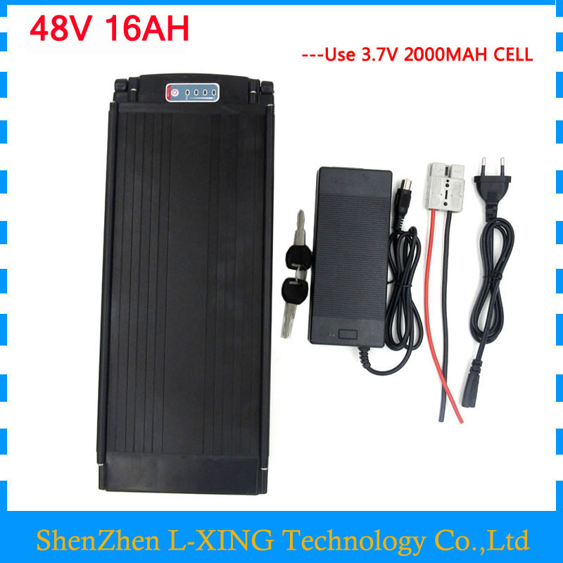 48V 16AH electric bicycle battery 48V Rear Rack battery 750W bike lithium ion battery with Tail light 20A BMS 54.6v 2A charger48V 16AH electric bicycle battery 48V Rear Rack battery 750W bike lithium ion battery with Tail light 20A BMS 54.6v 2A charger