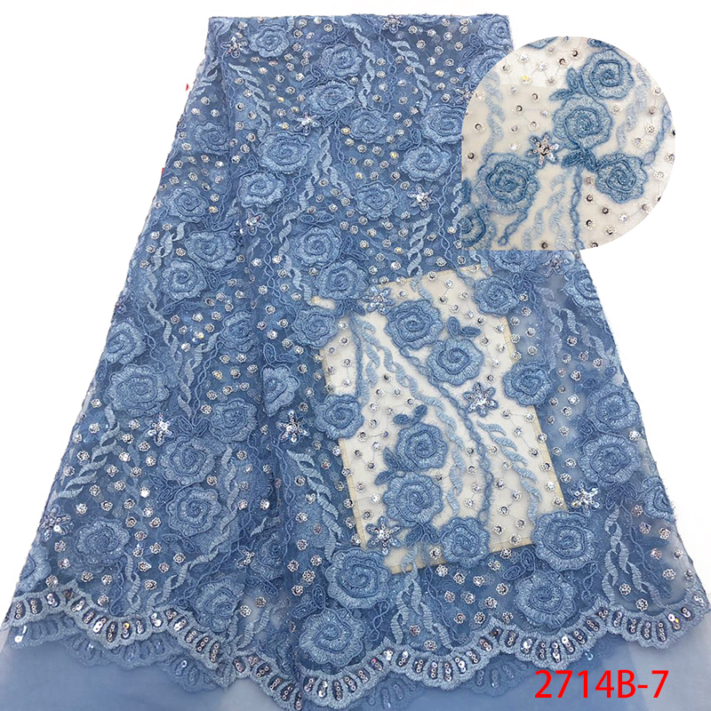 Latest French Lace Fabric High Quality African Organza Lace Fabric With Sequins 2019 Nigerian Tulle Lace Material KS2714B-7