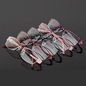 Image 5 - Reven Jate Mezza Senza Orlo Degli Occhiali Telaio Prescrizione Ottica Del Semi Rim Occhiali Montatura per Occhiali per Le Donne Delle Occhiali Femminile