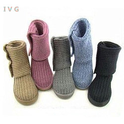 Fashion Australian Style Women Snow Boots Knitting With 3-Buttons Winter Outdoor Lady Boots Brand IVG Size US5-11 free shipping