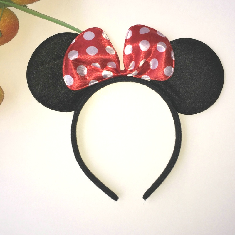 Girl's Accessories Cartoon Dot Bow Cloth Headband Cute Women Girls Boys Kids Fascinator Black Minnie Mouse Ears Hair Accessories Headress 4 Colors Smoothing Circulation And Stopping Pains Apparel Accessories