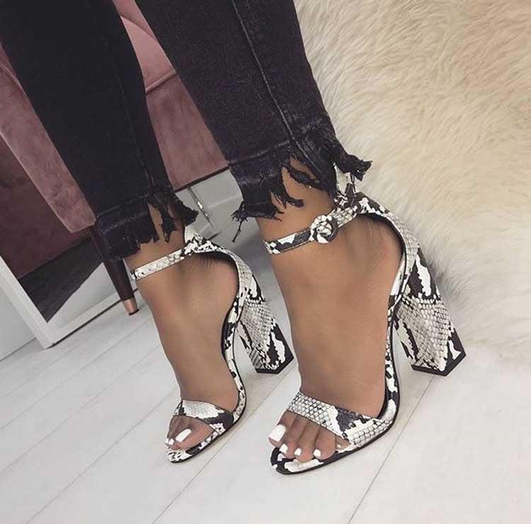 HTB1C5yhXULrK1Rjy0Fjq6zYXFXa1 Eilyken Women Ankle Strap Sandals Snake Print Square heel Fashion Pointed toe Ladies Fashion shoes 2019 New Women Sandals