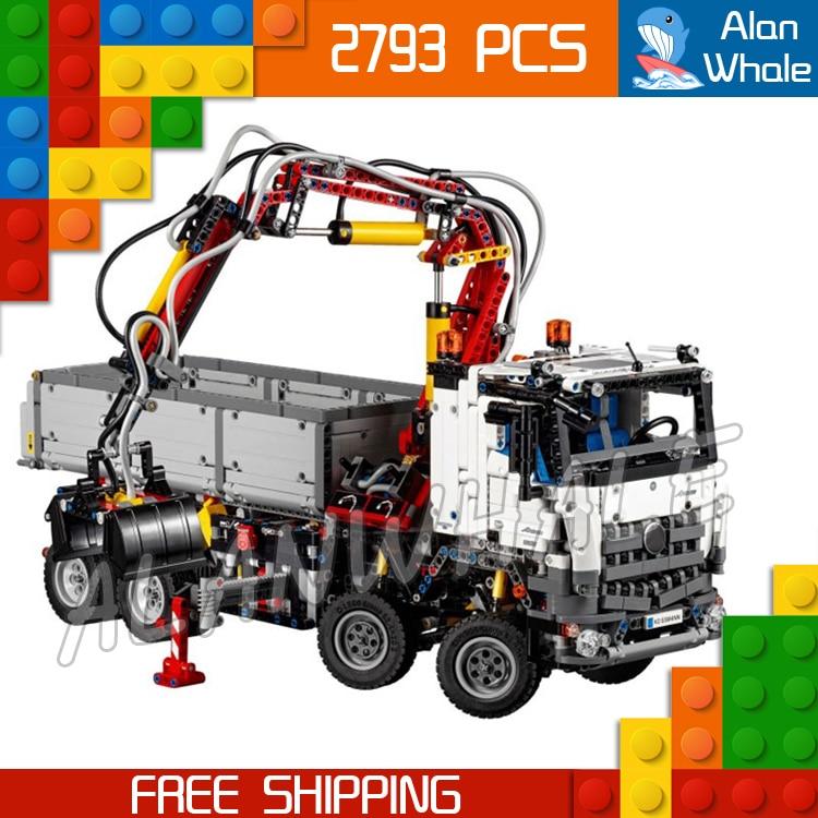 2793pcs technic electric motors motorized arocs truck 20005 model building kit blocks toys. Black Bedroom Furniture Sets. Home Design Ideas