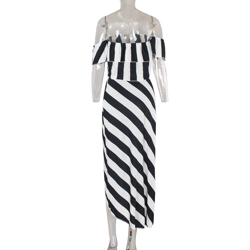 Sedrinuo Cascading Ruffle Striped off Shoulder Sleeveless Beach Wear Two Piece Summer Dress 2018 Casual Bodycon Beach Dresses 5
