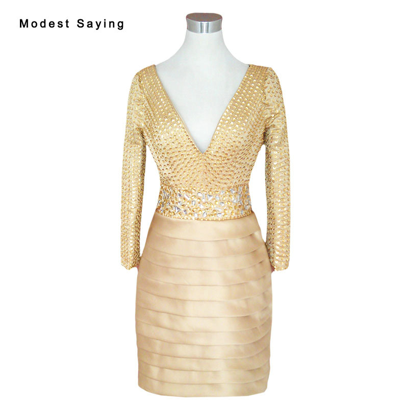 Real Gold Straight V Neck Long Sleeve   Cocktail     Dresses   2017 Women Mini Short Party Prom Gowns vestido de noiva Custom Made YC27