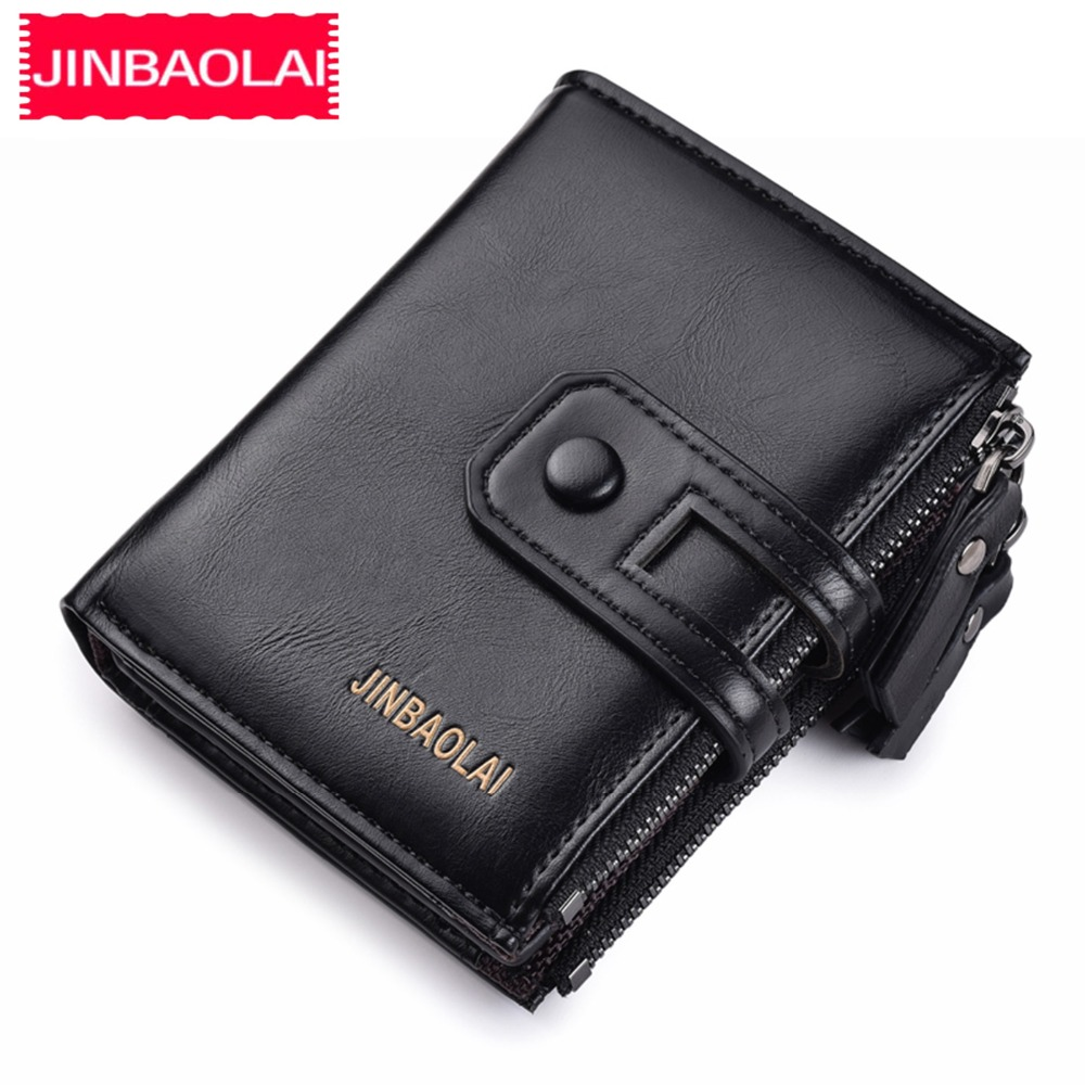2019 Men Wallets Short PU Leather Double Zipper Hasp Men Purses Card Holder Coin Pocket Vintage High Quality Brand Men Wallets(China)
