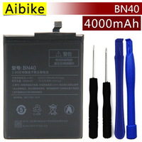 Aibike New Original Mobile Phone Battery BN40 For Xiaomi Redmi 4 Pro Battery 4000mAh Real Replacement