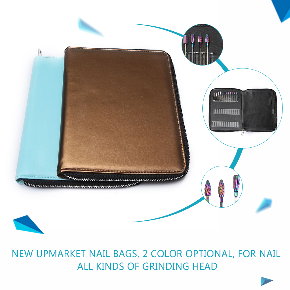 2 Style Nail Art Sanding Drill Bits Storage Bag Electric Manicure Machine Accessories Container Grinding Heads Zipper Case New vibration type pneumatic sanding machine rectangle grinding machine sand vibration machine polishing machine 70x100mm