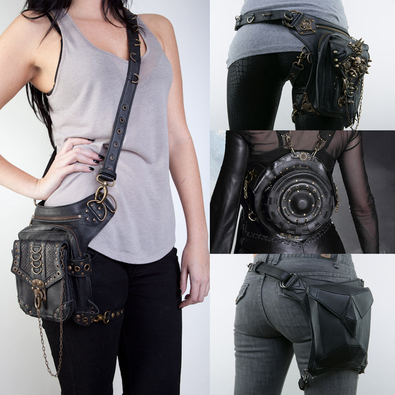 Vintage Retro Rock Gothic Steampunk Punk Men Women Handbag Waist Pack Shoulder Bag Coin Purse Leg Leather Bag