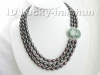 Selling Jewelry>>>21 23 natural peacock black pearls necklace cameo cla