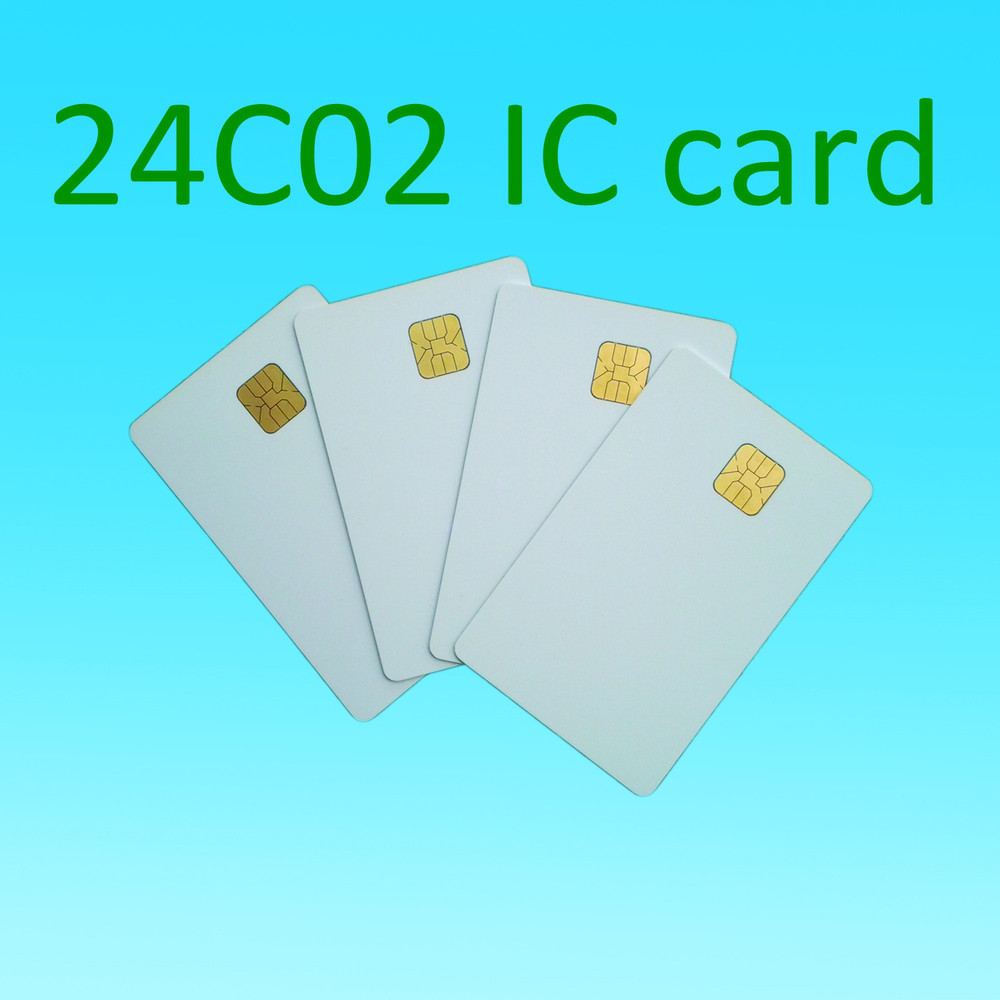 ATMEL 24C02 Card 2k White Contact Smart Card Social Security Cards Plastic Card 10pcs/lot