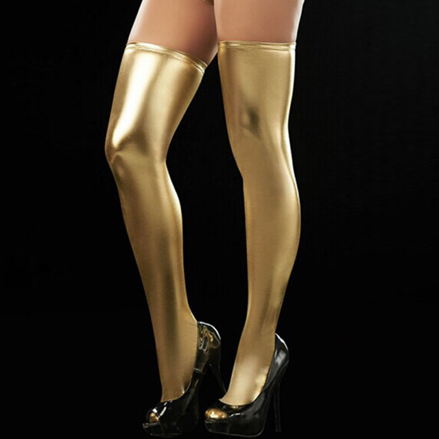 Vinyle cuir sur genou bas femmes Sexy tenue De club Pvc argent or bleu Rose rouge noir cuisse bas Medias De Mujer