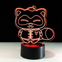 7 Color Change 3D Led Creative Raccoon Shape Home Lighting Sleep Night Lights Usb Cartoon Table