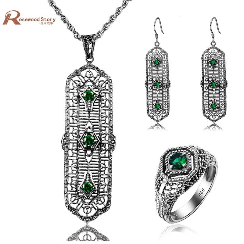 Afrika Hochzeit Schmuck Sets Antike Grün Stein Erstellt Smaragd Ring Anhänger Ohrringe 925 Silber Für Frauen Brautschmuck Sets