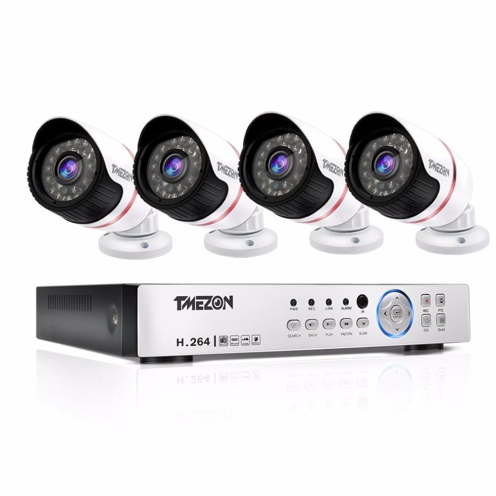 TMEZON AHD 4CH 1080P CCTV Camera System 4pcs 1080P Day Night Waterproof IR Video Surveillance Security Cameras 4CH 1080P DVR