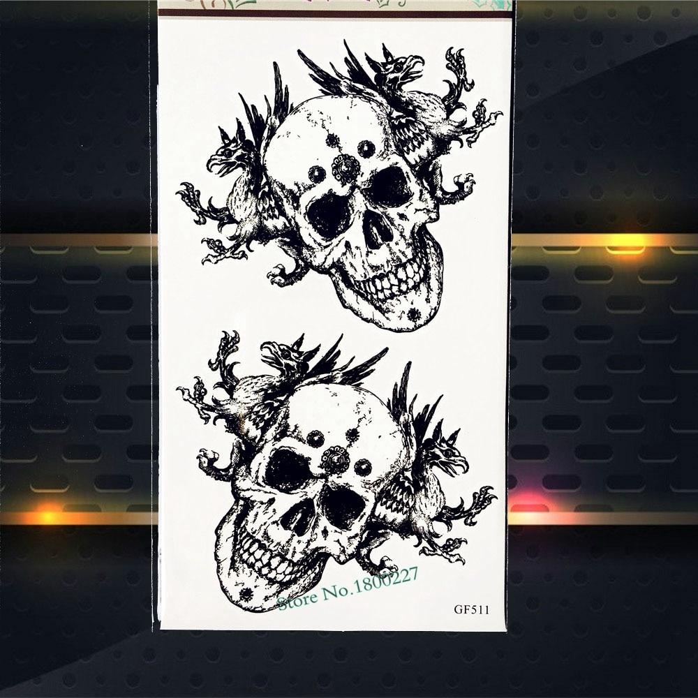 3D DIY Skull Head Temporary Tattoo Stickers Men Body Art ARm Tattoo Paste PGF511 Waterproof Fake Flash Tattoo Henna Stickers