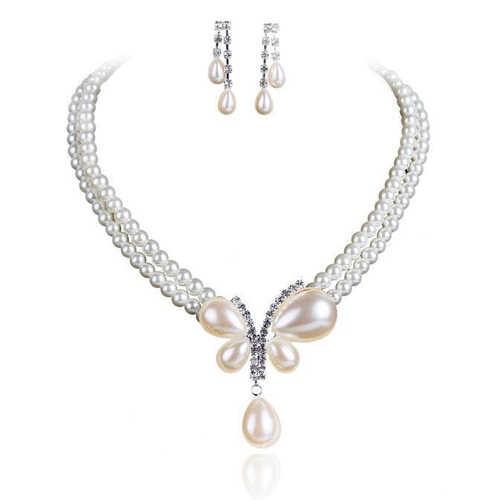 אופנה דובאי תכשיטי סט הכלה של פו פרל ריינסטון נשים עגילי קולר שרשרת חתונה תכשיטי סטים לנשים מתנה