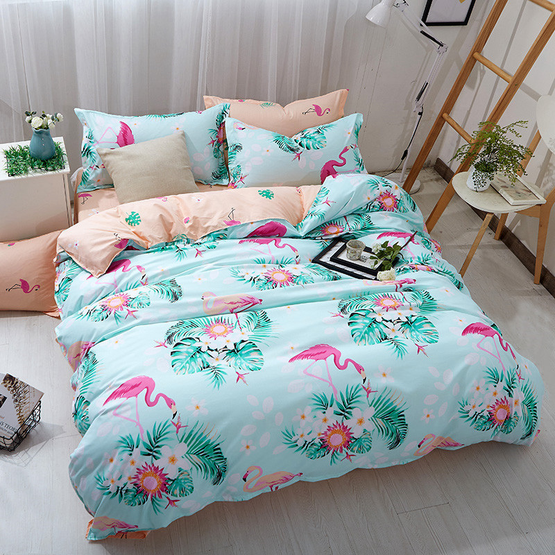 3PCS Flamingo Soft Bedclothes Green Blue Flower Polyester Quilt Cover Bedding Set With Pillowcase Queen King Duvet Cover|Duvet Cover| |  - title=