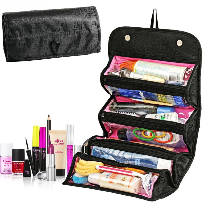 Hot Sale Folding Makeup Bag Fashion Cosmetic Cases Roll Lady Cosmetic Bags Travel Bag Toiletries Ladies Bolsas Large Capacity