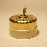 2ピース高品質真鍮レトロスイッチシングルsontrolレバー銅オン/オフセラミックベースバー装飾ドアベルスイッチ