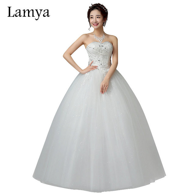 LAMYA Sweetheart Plus Size Princess Crystal Ball Gown Wedding Dress 2018  Cheap Lace Up Bridal Gown vestido de noiva 4b1662e72889