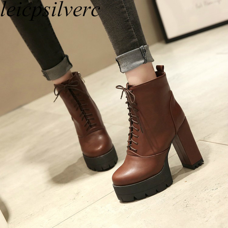 women boots autumn winter warm 2018 new sexy fashion pu lace-up ankle motorcycle boots black brown grey high-heeled martin shoes